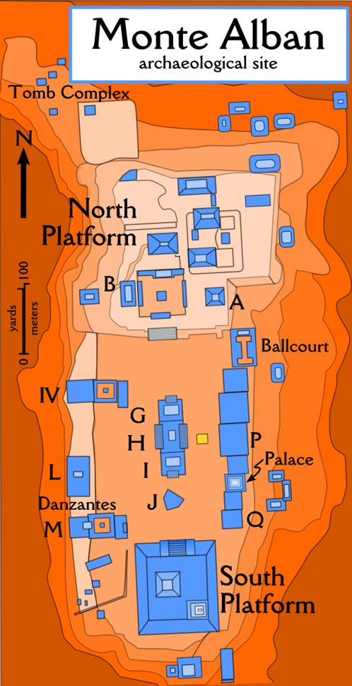 Site plan for Monte Alban