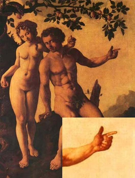 Six fingered Adam, Jan Van Scorel, 1540. Detail of Adam's left hand