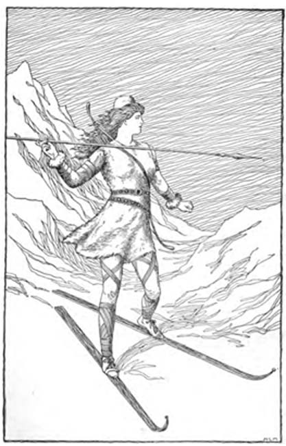 Skadi Hunting in the Mountains (1901) by H. L. M.(Foster) Asgard Stories: Tales from Norse Mythology.