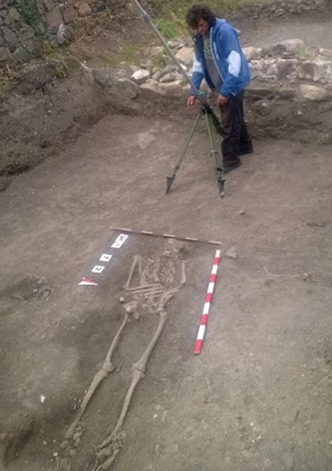 Skeleton unearthed at the site. Ahtopol, Bulgaria.
