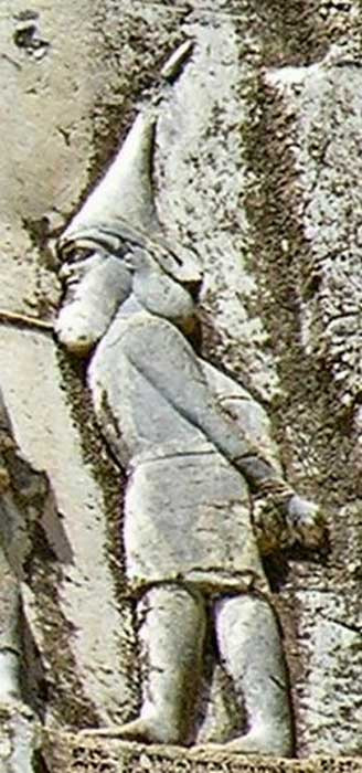 "Skunkha, king of the Sakā tigraxaudā (""pointed-cap-wearing Sakae"", a group of Scythian tribes)."