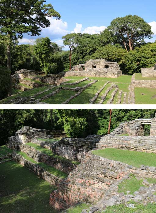 "The two images above show the ""Small Acropolis"" of Yaxchilan, which may have served a military or defensive function and hosts some of the largest elite residences in the ancient city. (Photos: ©Marco M. Vigato)"