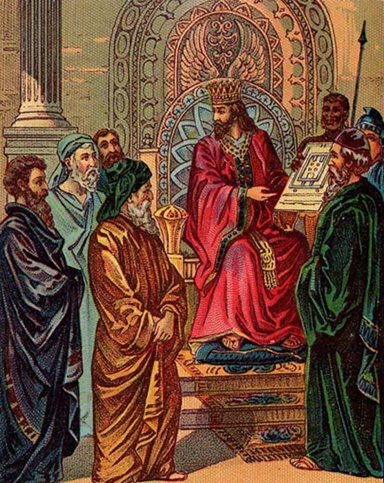 Solomon and the plan for the First Temple, illustration from a Bible card published by the Providence Lithograph Co.