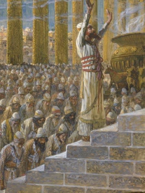 Solomon prays at the temple in Jerusalem. (James Tissot / Public domain)