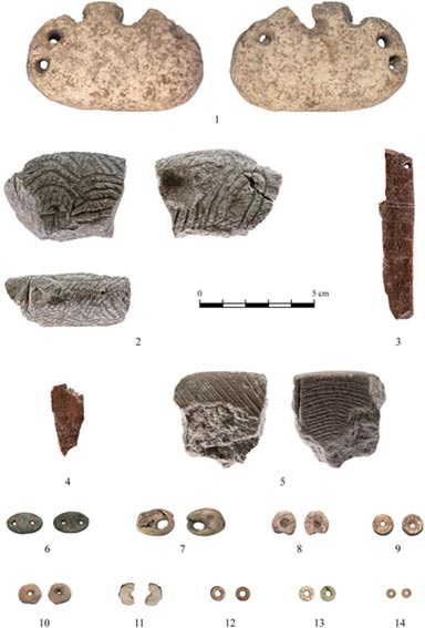 Some of the artifacts uncovered at the NEG II site: 1: Perforated Piece; 2–5: Decorated objects; 6: Green Stone Spacers; 7: Shell Bead; 8–10: Disc Beads; 10, 12–14
