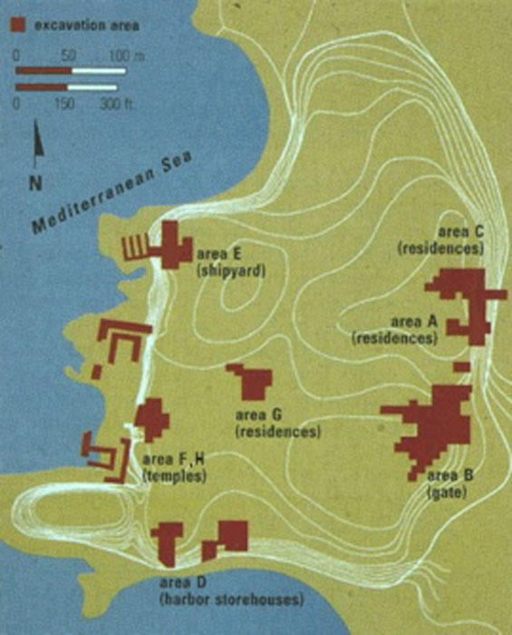 Some previous excavations on land and close to the shore at Tel Dor. (University of Washington)