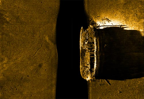 Sonar image of found ship