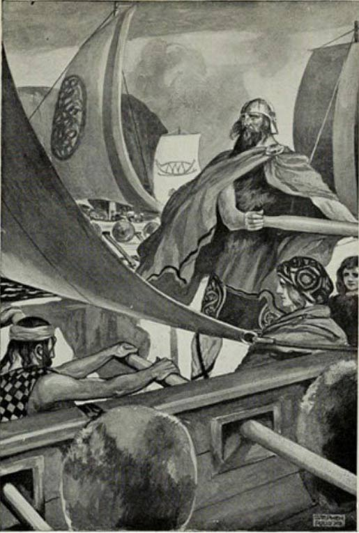 """""""The Coming of the Sons of Miled"""", illustration by J. C. Leyendecker in T. W. Rolleston's Myths & Legends of the Celtic Race, 1911."""
