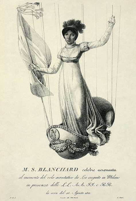 Sophie makes her ascent in Milan on 15 August 1811 to mark the 42nd birthday of Napoleon. (Durova / Public Domain)