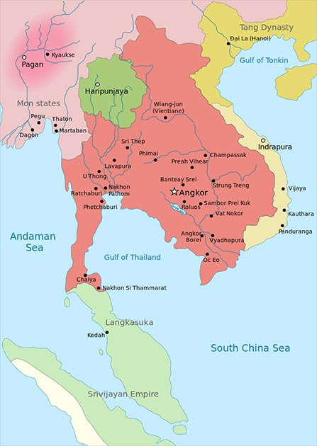 Map of Southeast Asia in 900, Khmer Empire in red, before the Sukhothai Kingdom. (Jembezmamy / Public Domain)