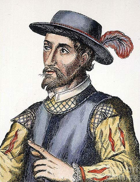 17th century Spanish engraving (colored) of Juan Ponce de León (Public domain)