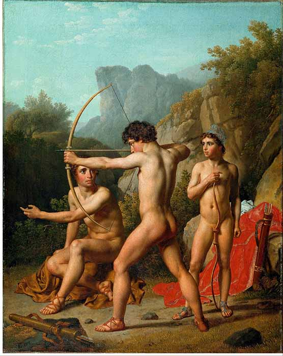 Three Spartan boys practicing archery (public domain)