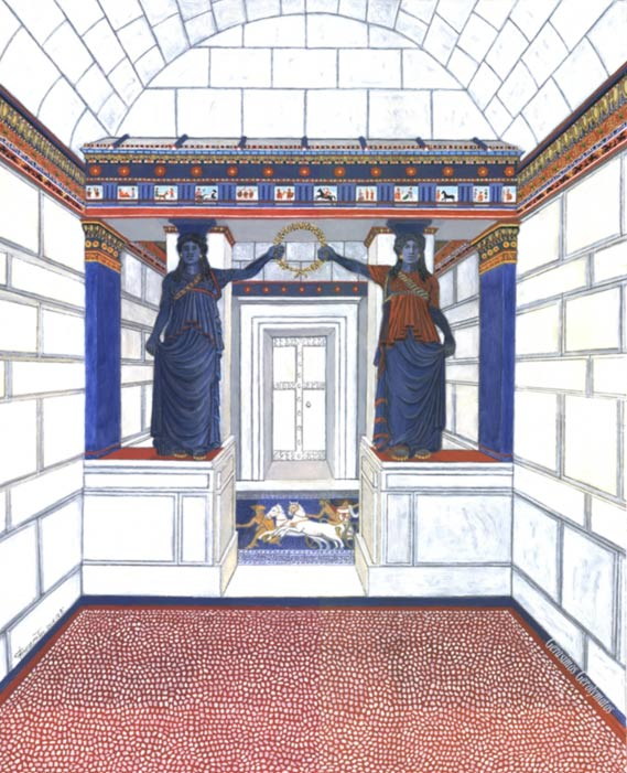 Speculative representation of the decorative elements within the Amphipolis tomb