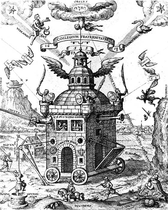 Illustration from the 'Speculum Sophicum Rhodostauroticum' depicting the Invisible College. In the top left corner shines the new star of 1604 and the representation of the constellation Ophiuchus, the serpent-bearer.