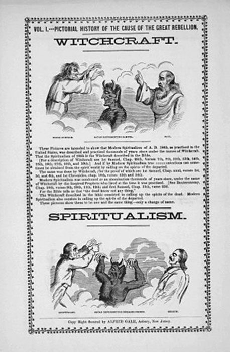 Spiritualism was equated by some Christians with witchcraft. This 1865 broadsheet, published in the United States, also blamed spiritualism for causing the American Civil War. (Anthon.Eff / Public Domain)