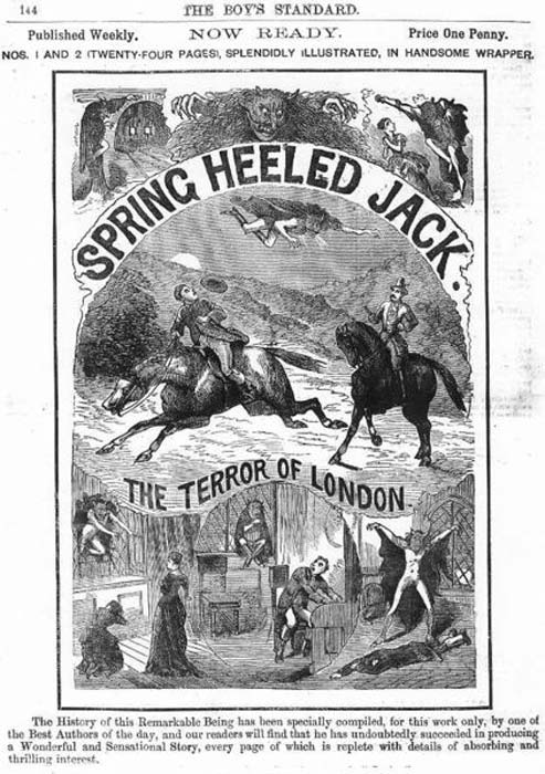 Ad for a Spring Heeled Jack penny dreadful - January 8th, 1886