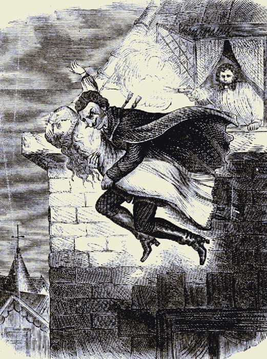 In one account, Spring Heeled Jack grabbed a girl, but disappeared into the darkness when she screamed