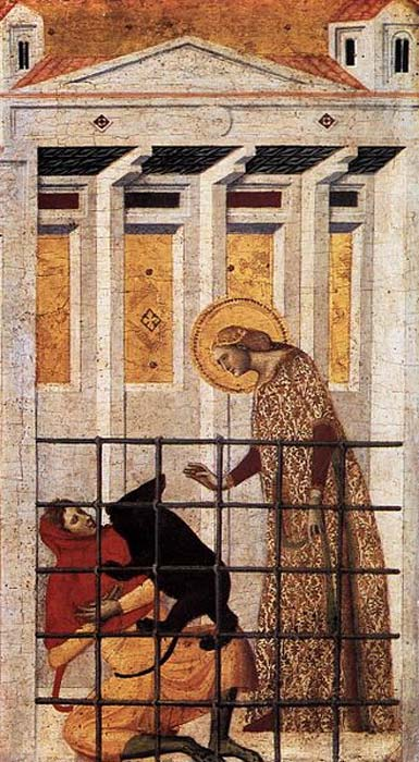 St Colomba Saved by a Bear. (1340s) By Giovanni Baronzio.