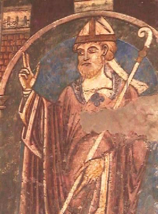 St Cuthbert fresco, Durham Cathedral (public domain)