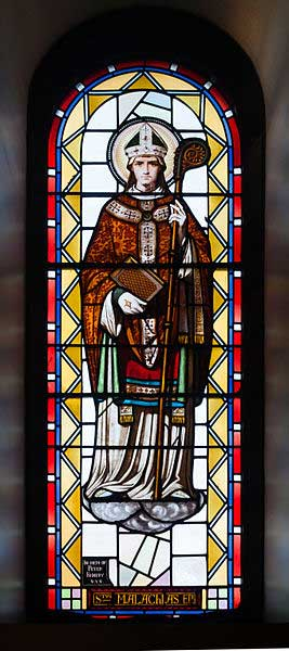 St. Malachy as depicted in a stained glass window of the Cathedral of the Immaculate Conception, Sligo, County Sligo, Ireland