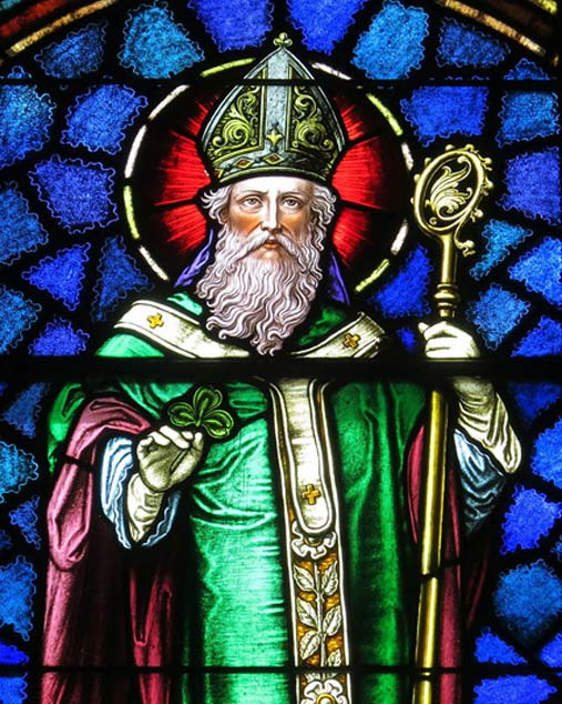 Stained glass window featuring St Patrick