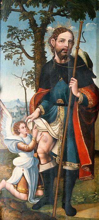 St Roch. Oil painting by Santa Cruz.