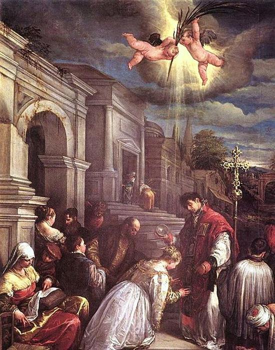 St. Valentine baptizing St. Lucilla. Jacopo Bassano (Jacopo da Ponte) (Public Domain)