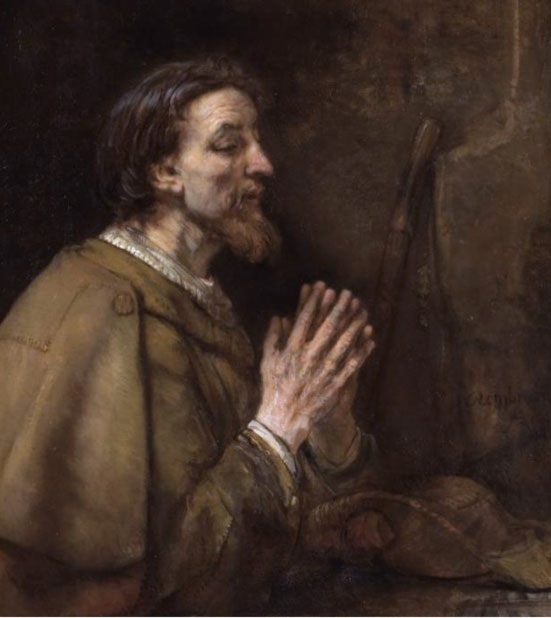 St. James the Elder by Rembrandt. He is depicted clothed as a pilgrim; note the scallop shell on his shoulder, a symbol which today is found across the Camino de Santiago, pointing the way for pilgrims.