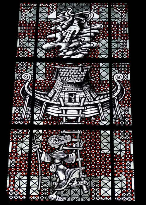 Stained-glass imagery of Noah's Ark.