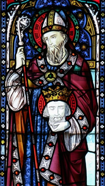 Stained glass depicting St. Cuthbert of Lindisfarne. (Lawrence OP / CC BY-NC-ND 2.0)