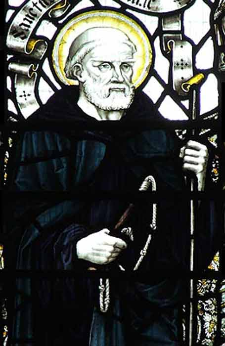 Stained glass panel depicting St Guthlac of Crowland, in Crowland Abbey. (Public domain)