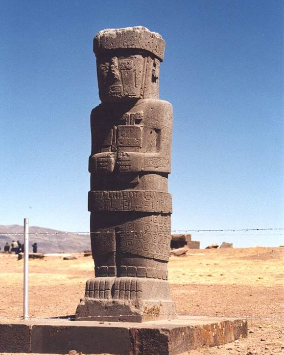 Bolivia: Statue from Tiwanaku, Bolivia. A symbol of regional power, the humanoid statue stands with hands over navel.