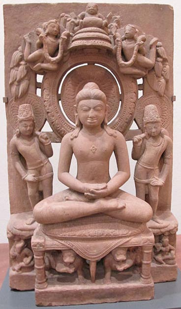 Statue of Adinatha, also known as Rishabha, (the founder of Jainism) in padmasana (lotus posture).