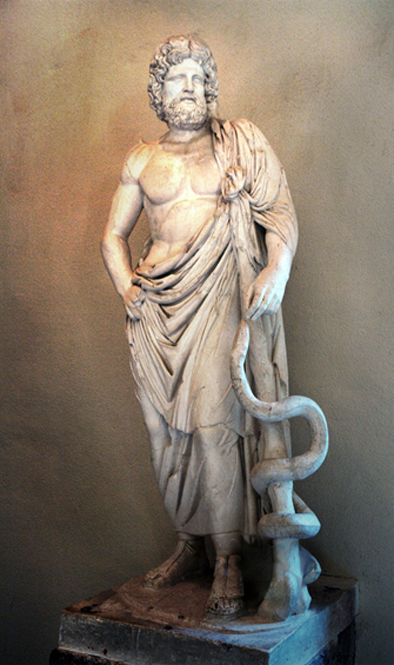 Statue of Asclepius, exhibited in the Museum of Epidaurus Theatre. (CC BY-SA 3.0)