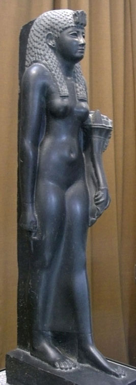 Statue of Cleopatra as Egyptian goddess; Basalt, second half of the 1st century B.C.