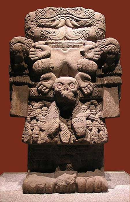 Statue of Coatlicue displayed in National Anthropology Museum in Mexico City