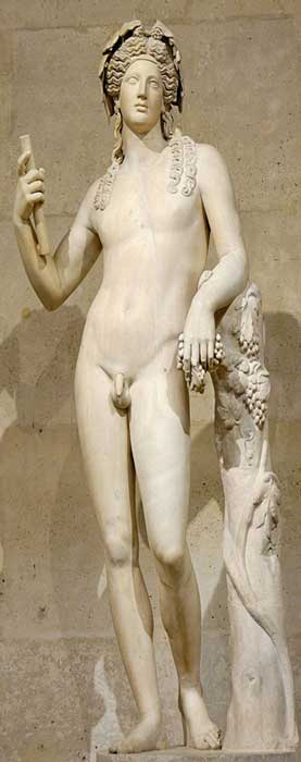 Statue of Dionysus. Marble, 2nd century CE (arms and legs were heavily restored in the 18th century), found in Italy. © Marie-Lan Nguyen