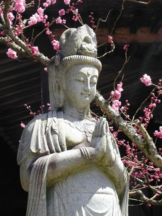 Statue of Guan Yin in the courtyard of Daien-in Temple, Mount Koya, Japan.