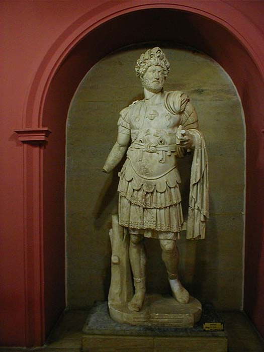 Statue of Hadrian in military garb, Antalya, Turkey.