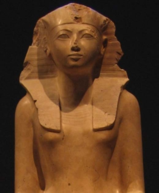 Statue of Hatshepsut on display at the Metropolitan Museum of Art.