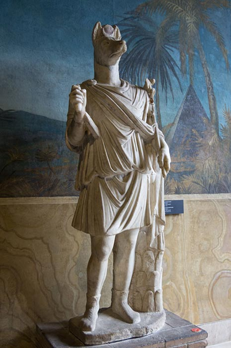 Statue of Hermanubis, a hybrid of Anubis and the Greek god Hermes (Vatican Museums)