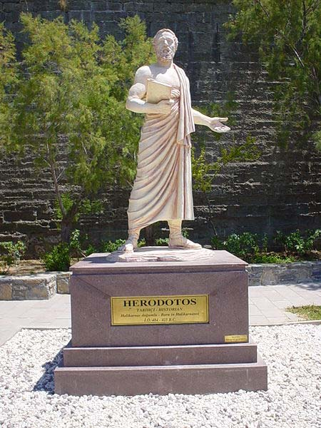 Statue of Herodotus in his hometown of Halicarnassus, modern Bodrum, Turkey.