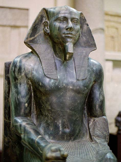 Statue of Khafre in diorite. Valley Temple of Khafra, Giza. Egyptian Museum, Cairo.