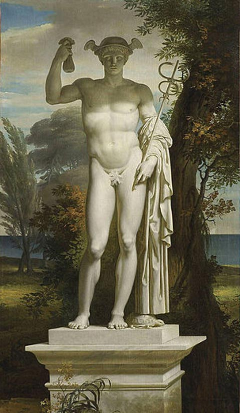 Statue of Mercury by Charles Meynier. Mercury is depicted wearing a winged cap and is carrying the caduceus in one hand and a purse in the other.