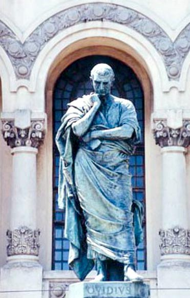 """Statue of Ovid in Constanza, designed by Ettore Ferrari. In his """"Metamorphosis"""" Ovid tells the story of King Midas"""