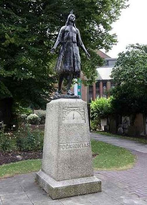 Statue of Pocahontas outside St George's Church, Gravesend Kent.