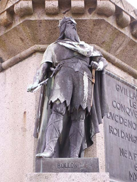 Statue of Rollo, depicted among the 6 dukes of Normandy in the town square of Falaise.