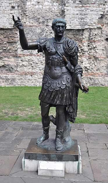 Statue of Roman Emperor Trajan at Tower Hill, London.