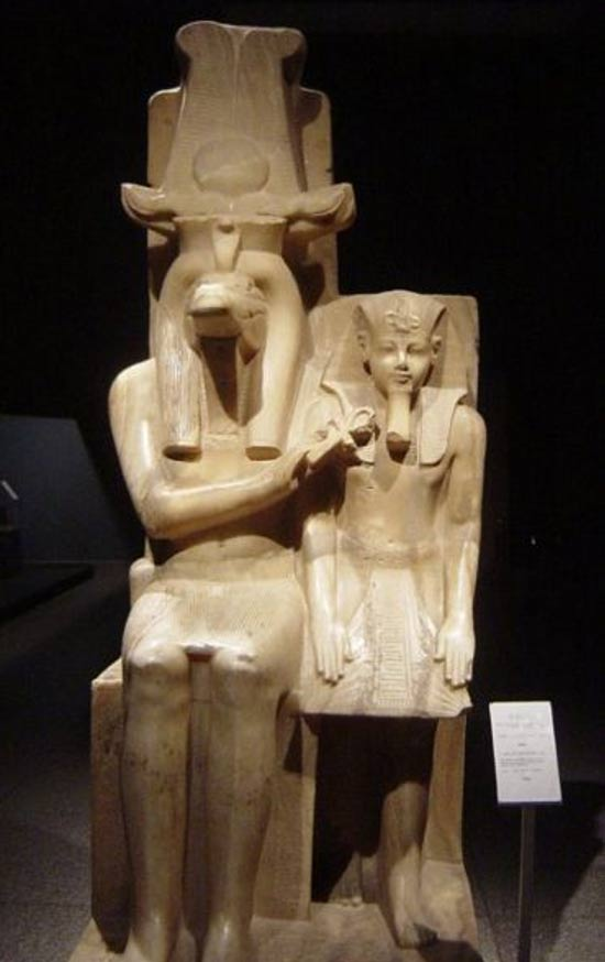 Statue of Sobek and Amenhotep III, currently in the Luxor Museum, in Egypt.