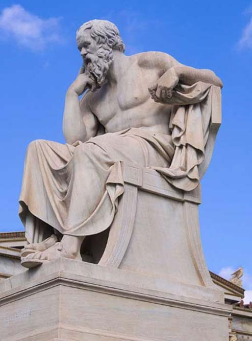 Statue of Socrates – warrior turned philosopher.